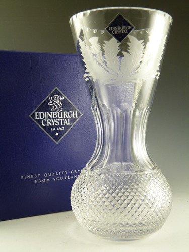 Boxed Edinburgh Crystal Thistle Vase 8 Newer Cutting Amazon