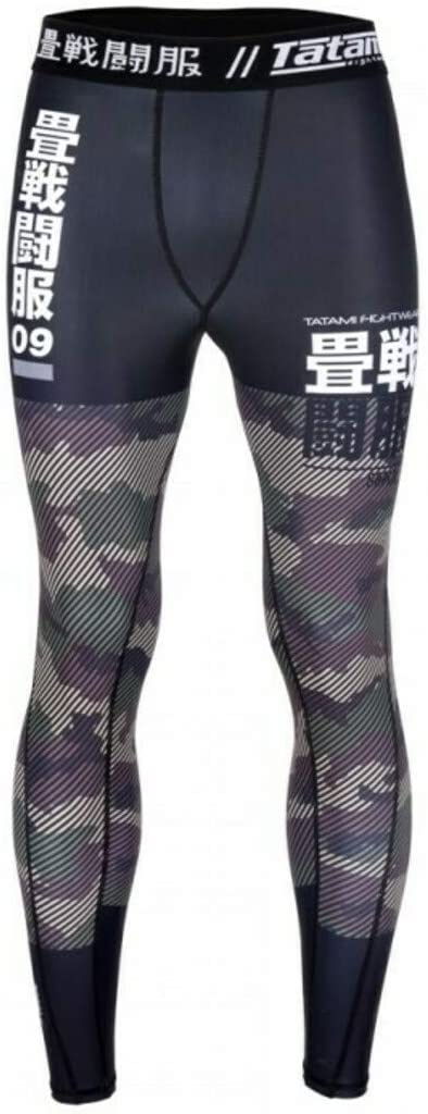 Tatami Compression Spats Essential Camo MMA BJJ Grappling Fitness Sport Leggings Spats No Gi for Men with 4-Way Stretch Green//Black