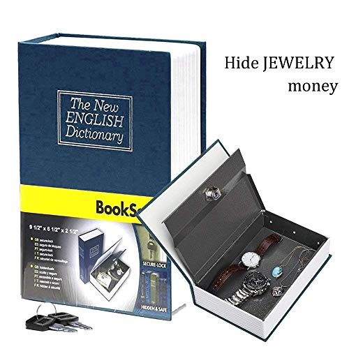Book Safe with Metal Lock Box - HENGSHENG New English Dictionary fit Hidden Home Diversion Secret Book Safe Portable Travel Box with Key Lock Box Safe - Navy - Keeper Treasure