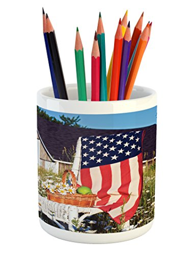 Americana Pencil Pen Holder by Lunarable, Green Apples and Daisies Chair with USA Flag Bouquet Countryside Summer Holiday, Printed Ceramic Pencil Pen Holder for Desk Office Accessory, (Daisy Usa Bouquet)