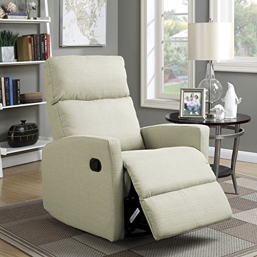 LANGRIA Modern Linen Upholstered Recliner Armchair Sofa Chair Home Chaise Lounge with Padded Seat, Backrest and Armrests, Beige