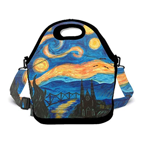 (Eco-Friendly Neoprene Lunch Bag - Van Gogh Starry Night - Large Insulated Lunch Sack, Soft Cooler/Hot Bag for)