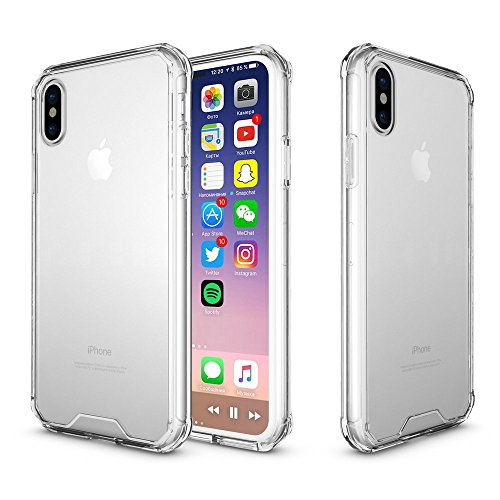 iPhone X Case, 5.8'' Apple iPhone x Case Crystal Clear Slim Anti-Scratch Shockproof Tpu Bumper Hard Back Cover Cases For iPhone 10 (Clear for iPhone X)