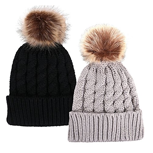 Simplicity Unisex Winter Hand Knit Faux Fur Pompoms Beanie 2 Pieces Black/Grey