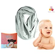 Multi-Use Baby Breastfeeding Infinity Nursing Cover/Nursing Scarf - Tykes & Tails Gray Solid Pattern - Many Colors and Patterns of Premium Breastfeeding Covers