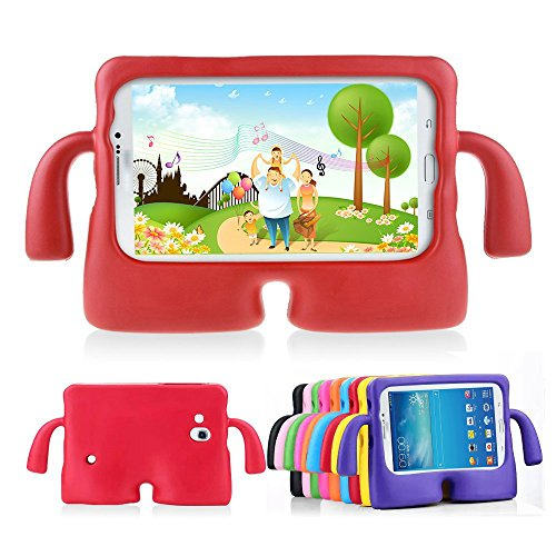 Lioeo Samsung Galaxy Tab 3 Kids Friendly Case Tab 3 Lite Childproof Anti-slip Cases 7 Inch by Lioeo Foam Kids Friendly Cases for Samsung Tablet 3 /3 Lite 7.0 In NOT Fit For 8 Inch (Red)