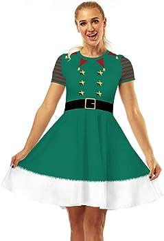 K-Youth Vestidos Navidad Mujer de la Navidad de Manga Corta ...