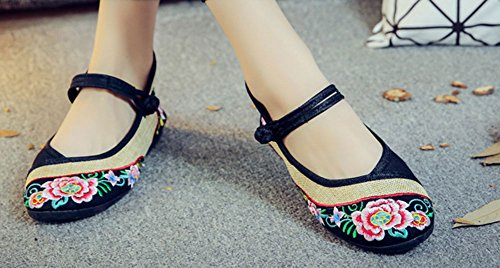 Linen Floral Embroidery AvaCostume Soft Patchwork Bottom Womens Black Shoes Walking xX5qqEBa
