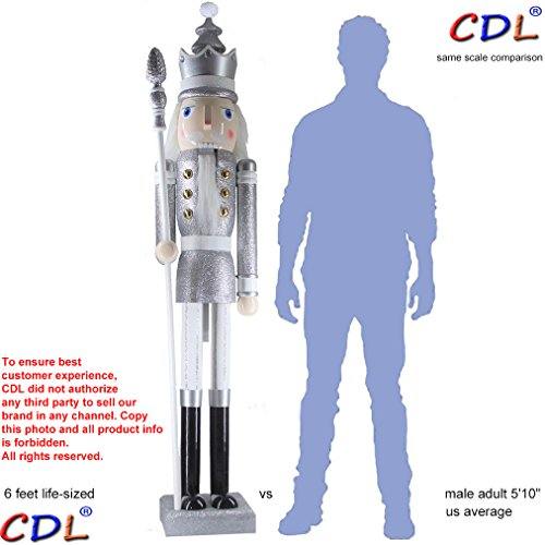 CDL 6ft tall life-size large/giant silver glitter Christmas wooden nutcracker king ornament on stand holds scepter for indoor outdoor Xmas/event/wedding party decoration(6 feet, king silver k31)