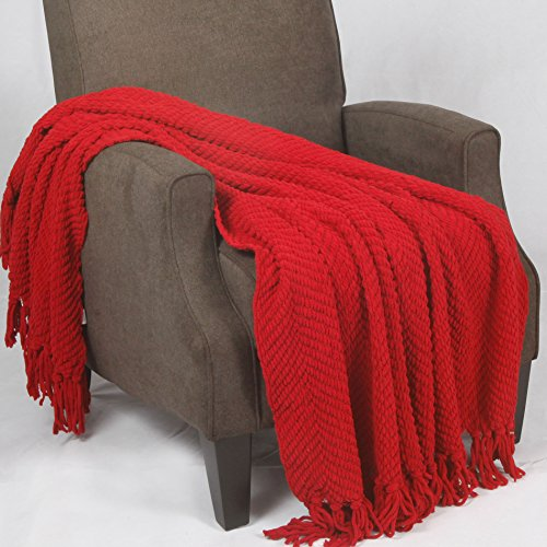 Knitted Couch Cover Blanket, 60, Chili