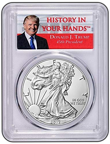 2017 1 oz Silver Eagle Donald Trump Label Dollar MS69 PCGS