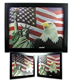 Memorial Day Picture - American Eagle Statue of Liberty and Stars and Stripes Flag 3D Dimensional Holographic Lenticular Animated Framed Poster Wall Art Print - Size: 17.5 In. x 13.5 In.