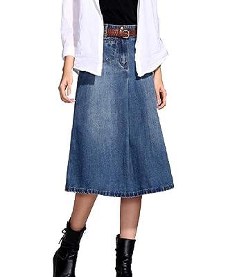 e51a3a6133d3a Andopa Women s A-line Plus-Size High Waisted Denim Skinny Mid-Long Skirt