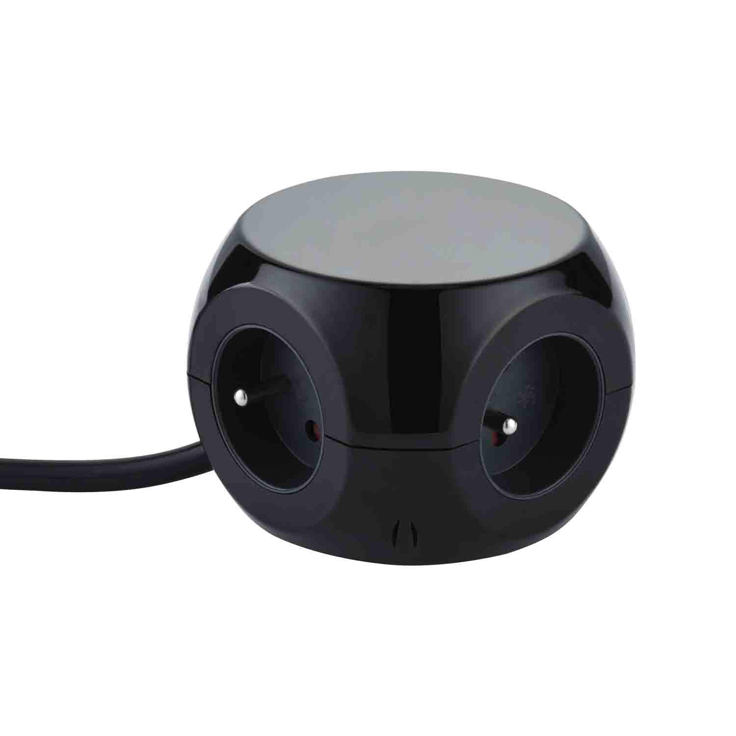 Electraline 35441 Mini Cube avec 3 Ports USB 2.4A Rallonge Multiprise 3M Bloc 3 Prises avec Interrupteur Noir