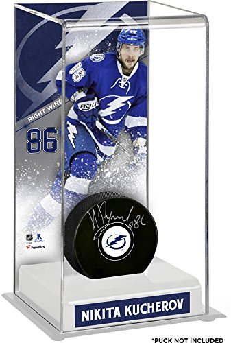 Sports Memorabilia Nikita Kucherov Tampa Bay Lightning Deluxe Tall Hockey Puck Case - Hockey Puck Free Standing Display Cases