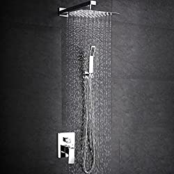 SR SUN RISE SRSH-F5043 Bathroom Luxury Rain Mixer Shower Combo Set Wall Mounted Rainfall Shower Head System Polished Chrome