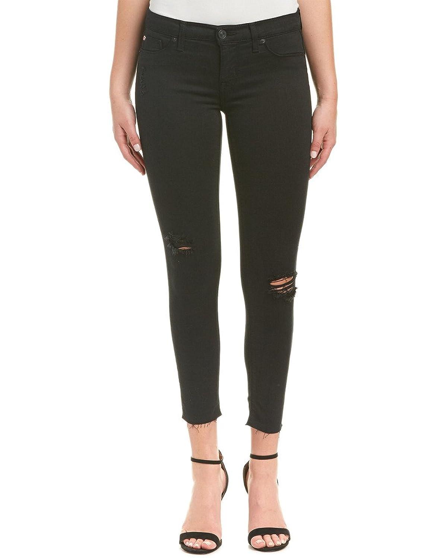 Hudson Jeans Womens Krista Black Destructed Crop Super Skinny Leg, 29