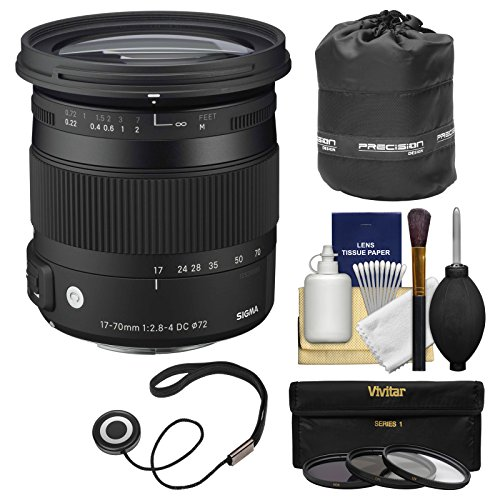 Sigma 17-70mm f/2.8-4 Contemporary DC Macro OS HSM Zoom Lens for Nikon DSLR Cameras with Pouch + 3 UV/CPL/ND8 Filters + Kit