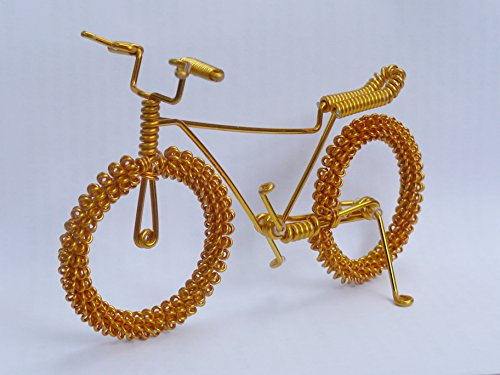 Metal Wire Gift Art Handmade Road Bicycle Christmas Ornament - Twisted Souvenirs Craft Bike Toys- Specialized Cycling Ornaments Charms for Men/women/boys/girls/kids/guys for any occasion. GOLD COLOR (Cycling Christmas Ornament compare prices)