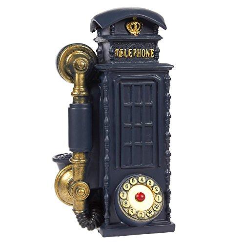 Juvale Piggy Bank Money Box British English Style - Polyresin Vintage Street Telephone Booth DecorMoney Bank Storage Pot, Navy - Coin Vintage Bank