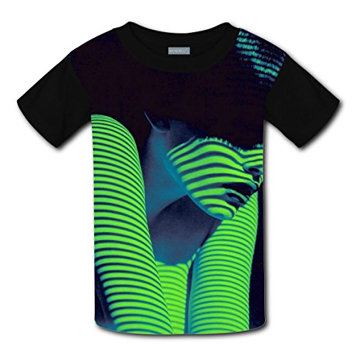 Neon Ninja Child Costumes (Green Neon Girl Stripes T-shirts for Kids Tee Shirt Tops Short Sleeve Costume L)