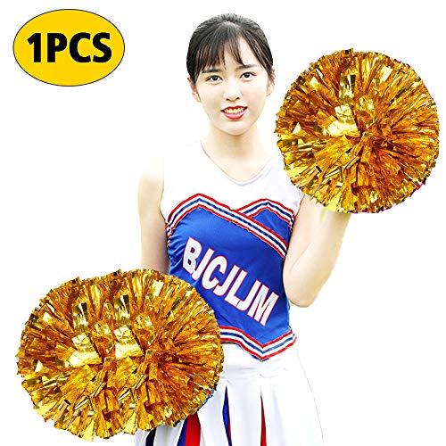 XIANRUI Cheerleading Pompoms, Cheerleader Pom Poms Metallic Foil Pom Poms Squad Cheer Sports Party Dance for Team Spirit Dance Party School Sports Competition Stage Performance -