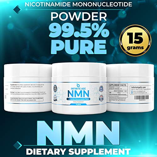 51FXaamUdcL - NMN Supplements, NMN Nicotinamide Mononucleotide, Nad Booster By Infinite Age  NMN Powder 15 GRAMS (Per Jar) For Anti Aging, Brain Function, Stress, Health, Energy. NMN Molecule Supplement