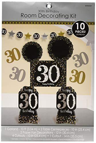 30th Birthday Room Decorating Kit 10pc - Sparkling Celebration