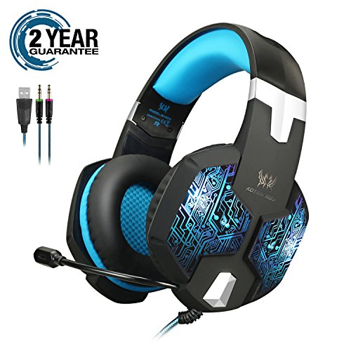 Gaming Headset with 3.5mm Jack and USB,Stereo Sound and NOISE CANCELLING, Over-ear Headphones with Mic,Volume Control, LED Lights for PC Mac PS4 Xbox One Nintendo Switch Cell Phone(Adapter Need) Earcup Headphones Speakers