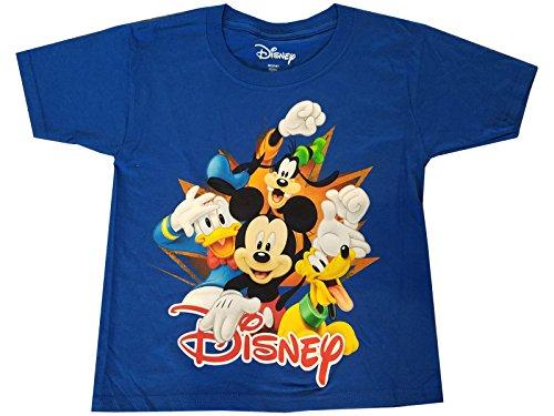 Disney Mickey Donald Pluto Goofy Tee Florida 4 Burst Fashion Top T Shirt Royal Blue (SM/6-7)