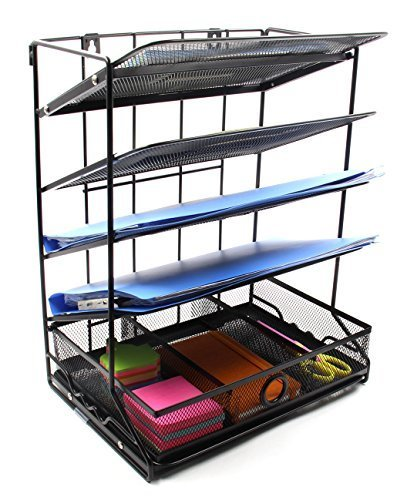 EasyPAG 5 Tier Mesh Desk Accessories Organizer Wall Hanging File Holder + Extra Drawer - Black