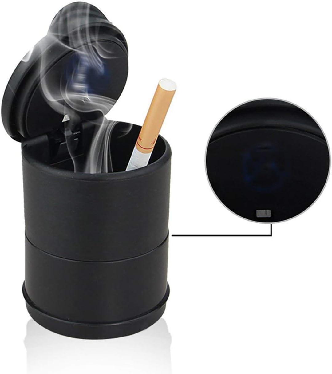 DEjasnyfall schwarz Portable LED Aschenbecher f/ür Auto schwarz Aschenbecher mit Deckel Zylinder Zigarette Aschenbecher mit abnehmbaren Aufbewahrungsbox