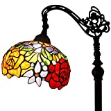 Tiffany Style Reading Floor Lamp Red Rose for Girlfriend Table Desk Lighting W10 H64 inch
