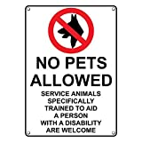 Weatherproof Plastic Vertical No Pets Allowed Service Animals Welcome Sign with English Text and Symbol