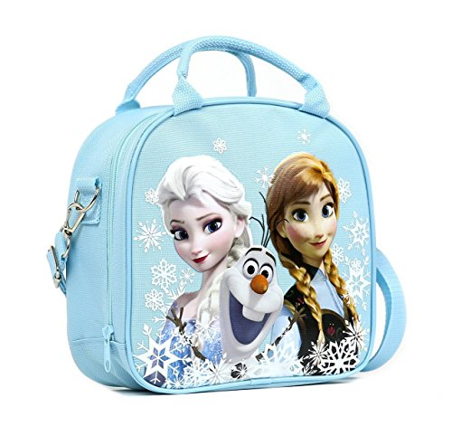 Disney Frozen Lunch Box Carry Bag with Shoulder Strap and Water Bottle (SNOW (Shoulder Straps Tea)