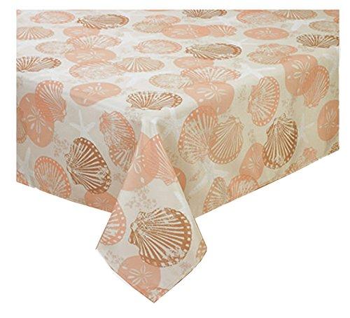Coral Batik Shells Zippered Umbrella Tablecloth (60 x 84 Rectangle Umbrella)
