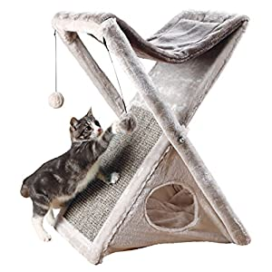 """Trixie Pet Products Miguel Fold and Store Cat Tower, 20.25 x 13.75 x 25.5"""", Gray/Light Gray"""