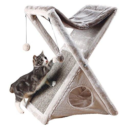 Trixie Pet Products Miguel Fold and Store Cat Tower, 20.25 x 13.75 x 25.5, Gray/Light - Kitty Post