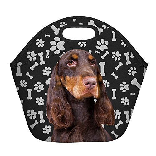 Funny Field Spaniel Dog Paws Print Insulated Lunch Bag for Women Men or Kids, Hot/Cooler Multi-purpose Work/Picnic - Dogs Paw Print Spaniel