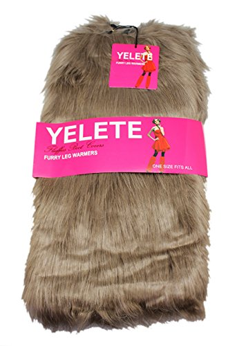 Lady's Furry Leg Warmers - Yelete Fluffy Boot Cover (Black)