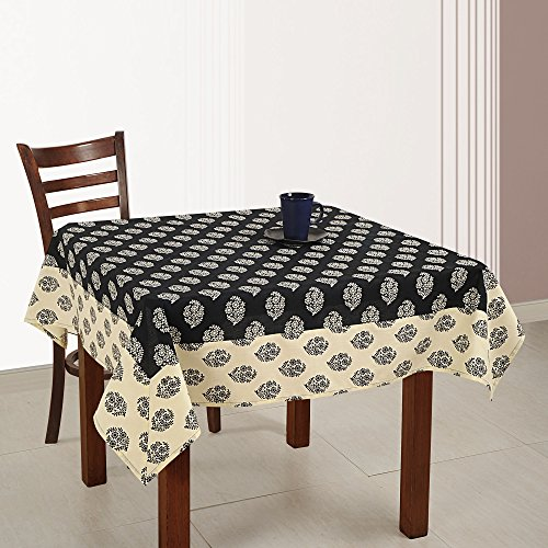 (ShalinIndia Indian Home Décoration 54 Inches Square Cotton Tablecloth 4 Seater Printed Floral)