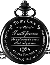 "Pocket Watch to Husband Wife Boyfriend Girlfriend Gift, Engraved""to My Love"" Pocket Watch - No Matter Where We are, No Matter What Happens, Love Forever (Love Gifts, White Dial)"