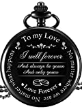 "Pangda Pocket Watch to Husband Wife Boyfriend Girlfriend Gift, Engraved""to My Love"" Pocket Watch - No Matter Where We are, No Matter What Happens, Love Forever (Black): more info"