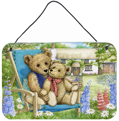 Teddy Bear Hanging - Caroline's Treasures Springtime Teddy Bears in Flowers Wall or Door Hanging Prints CDCO0306DS812, 8HX12W
