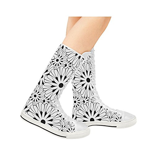 D-story Sunflower Lace Up Tall Punk Dancing Canvas Botas Largas Zapatillas De Deporte Zapatos Para Mujeres