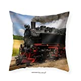 VROSELV Custom Cotton Linen Pillowcase Steam Train with Black Smoke Running on Island Rugen Northern Germany - Fabric Home Decor 12''x12''