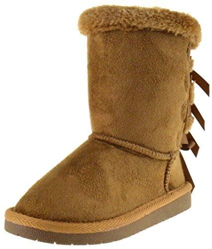 Ann 34K Little Girls Shearling Bow Tie Fur Boots Tan 10