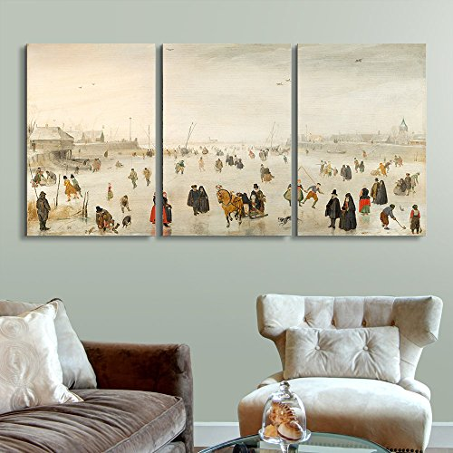 wall26 3 Panel World Famous Painting Reproduction on Canvas Wall Art - A Scene on The Ice by Hendrick Avercamp - Modern Home Decor Ready to Hang - 16