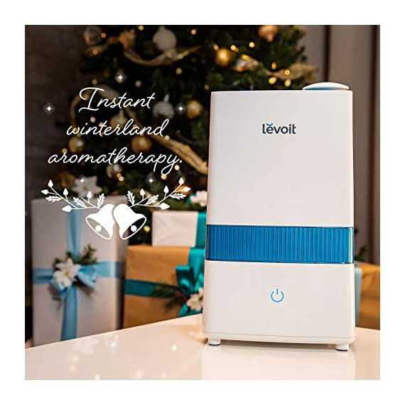 """LEVOIT Cool Mist 3 HIGH CAPACITY: The 1. 1 gal / 4. 5 L water tank allows up to 40 hours of continuous use on the lowest mist setting. On the highest setting, the mist reaches up to 300 mL/hr. , easily humidifying offices, nurseries, and other large rooms WHISPER QUIET: The humidifier's ultrasonic technology operates at a near-silent 28dB. The silent controls and the indicator light's automatic shutoff let you enjoy comfortable, disturbance-free sleep AROMATHERAPY: Add essential oils to the aroma box of our filter-free humidifier to infuse the air with your favorite fragrances. It will fill your whole room with lovely moisture while create a relaxing aromatherapy ambience. Essential oils are available for purchase (Search for """"LVO-6SET"""" on ). Note: Do not add essential oils directly to the water tank or base"""