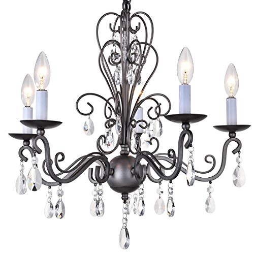 Cheap Wrought Iron Rustic Vintage Black Pendant Candle Chandelier Crystal Lighting Fixture Lamp for Dining Room Bathroom Foyer Livingroom 5 E12 Bulbs Required D22 in x H20 in